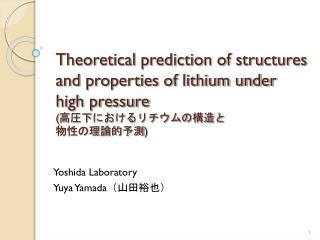 Yoshida Laboratory         Yuya Yamada (山田裕也)