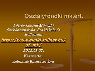 Osztályfőnöki mk.ért.
