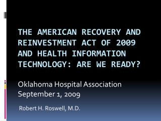 Oklahoma Hospital Association September 1, 2009