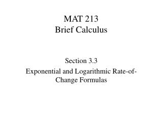 MAT 213 Brief Calculus