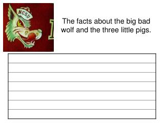 The facts about the big bad wolf and the three little pigs.