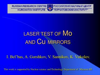 LASER TEST OF  Mo AND  Cu  MIRRORS