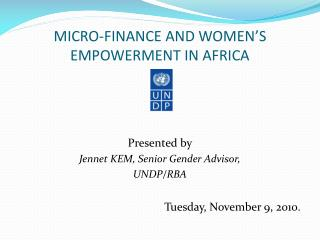 MICRO-FINANCE AND WOMEN'S EMPOWERMENT IN AFRICA