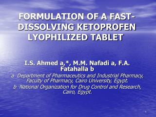 FORMULATION OF A FAST-DISSOLVING KETOPROFEN LYOPHILIZED TABLET