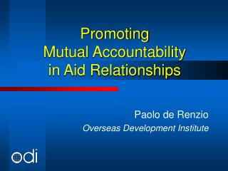 Promoting  Mutual Accountability  in Aid Relationships