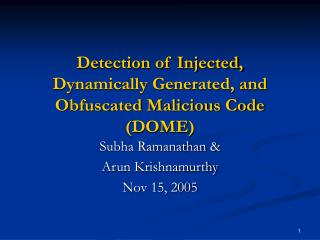 Detection of Injected, Dynamically Generated, and Obfuscated Malicious Code (DOME)
