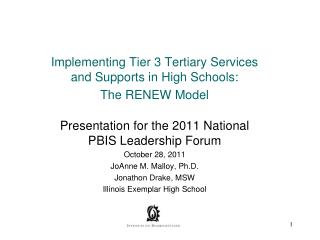 Implementing Tier 3 Tertiary Services and Supports in High Schools: The RENEW Model