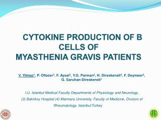 CYTOKINE PRODUCTION OF B CELL S  OF  MYASTHENIA GRAVIS PATIENTS