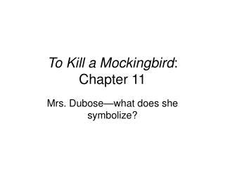 To Kill a Mockingbird :  Chapter 11