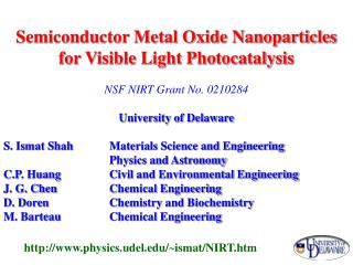 Semiconductor Metal Oxide Nanoparticles for Visible Light Photocatalysis
