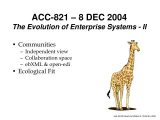 ACC-821   8 DEC 2004 The Evolution of Enterprise Systems - II