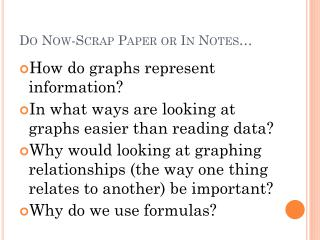 Do Now-Scrap Paper or In Notes�