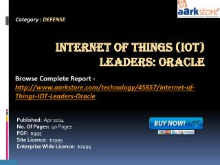 Aarkstore: Internet of Things (IOT) Leaders: Oracle