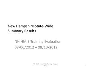 New Hampshire State-Wide  Summary Results
