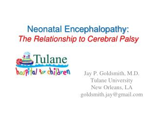 Neonatal Encephalopathy: The Relationship to Cerebral Palsy
