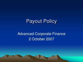 Payout Policy