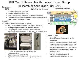 RISE Year 1: Research with the  Wachsman  Group Researching Solid Oxide Fuel Cells