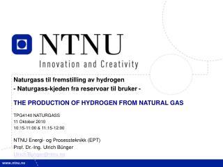 Naturgass til fremstilling av hydrogen  - Naturgass-kjeden fra reservoar til bruker -