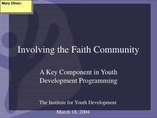 Involving the Faith Community