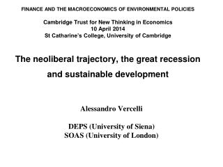 Alessandro Vercelli DEPS (University of Siena) SOAS (University of  London)