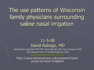 The use patterns of Wisconsin family physicians surrounding saline nasal irrigation