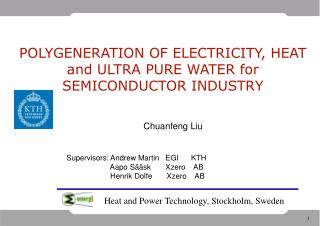 POLYGENERATION OF ELECTRICITY, HEAT and ULTRA PURE WATER for SEMICONDUCTOR INDUSTRY