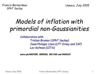 Models of inflation with primordial non-Gaussianities
