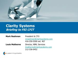 Clarity Systems Briefing to FEI CFIT