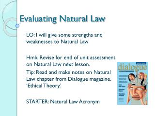 Evaluating Natural Law