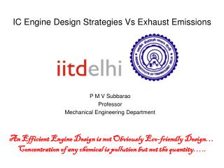 IC Engine Design Strategies Vs Exhaust Emissions