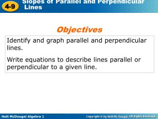 Identify and graph parallel and perpendicular lines.