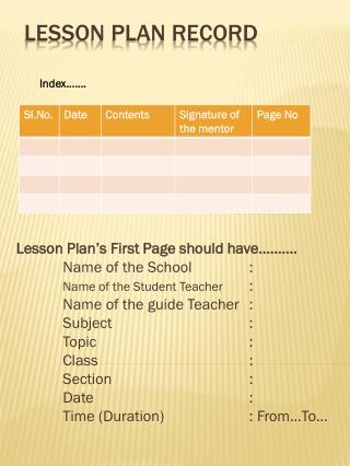 Lesson Plan Record
