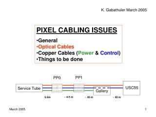 PIXEL CABLING ISSUES General Optical Cables Copper Cables ( Power &  Control ) Things to be done