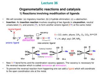 Lecture 36  Organometallic reactions and catalysis 1) Reactions involving modification of ligands