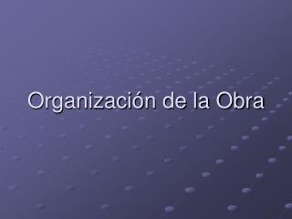 Organización de la Obra