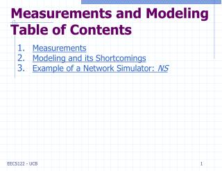Measurements and Modeling Table of Contents
