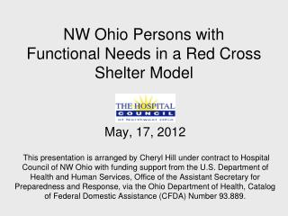 NW Ohio Persons with Functional Needs in a Red Cross Shelter Model