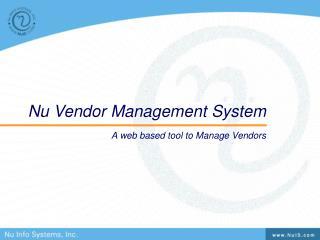 Nu Vendor Management System