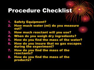 Procedure Checklist
