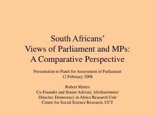 South Africans'  Views of Parliament and MPs: A Comparative Perspective