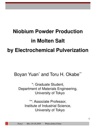 Niobium Powder Production in Molten Salt by Electrochemical Pulverization
