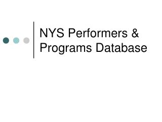 NYS Performers & Programs Database