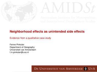 Focus on neighbourhood effects (NE) on economic outcomes: