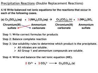 Precipitation Reactions  (Double Replacement Reactions)