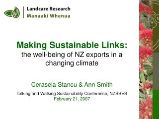 Making Sustainable Links: the well-being of NZ exports in a changing climate