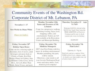 Community Events of the Washington Rd. Corporate District of Mt. Lebanon, PA