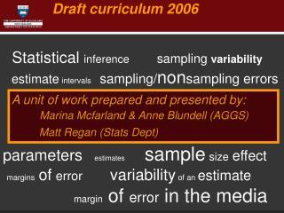 Draft curriculum 2006