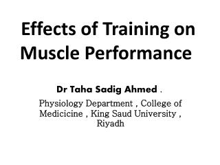 Effects of Training on Muscle Performance