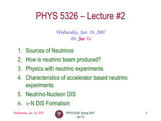 PHYS 5326 – Lecture #2