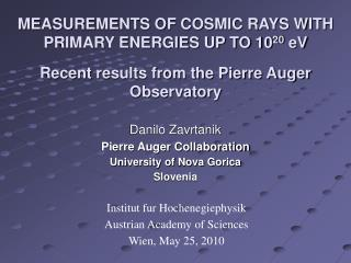 MEASUREMENTS OF COSMIC RAYS WITH PRIMARY ENERGIES UP TO 10 20  eV